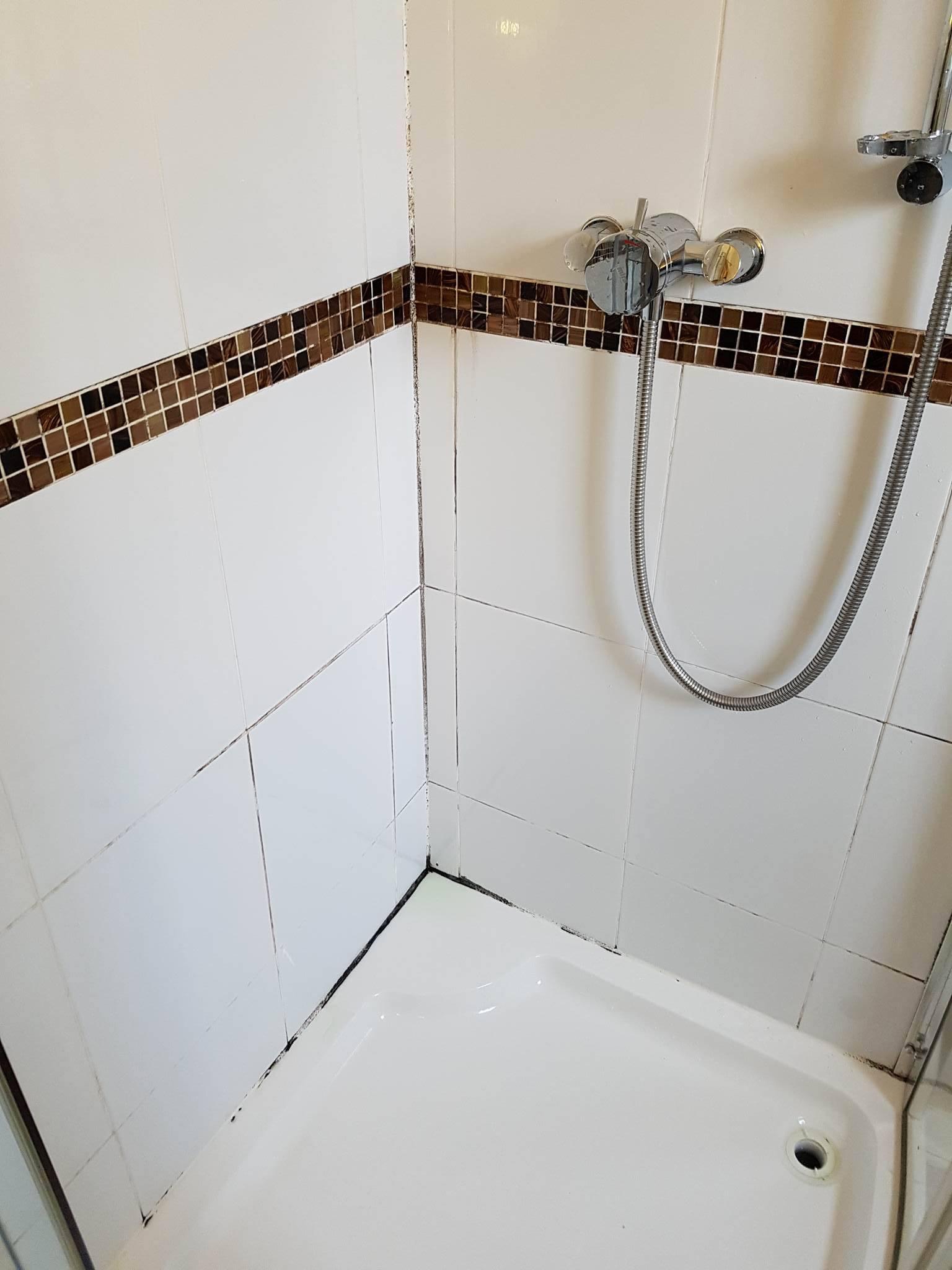 Ceramic Tiled Shower Cubicle Before Restoration Moston