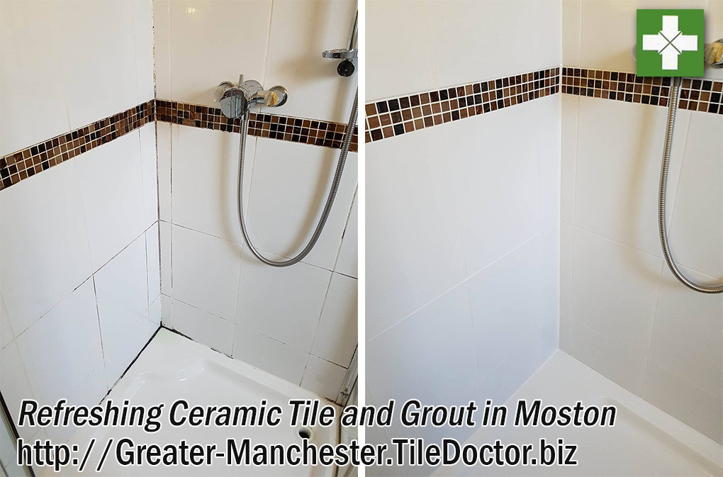 Ceramic Tiled Shower Cubicle Before and After Refresh Moston