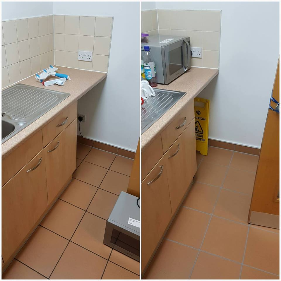Kitchen Floor at corporate offices Before and After Cleaning