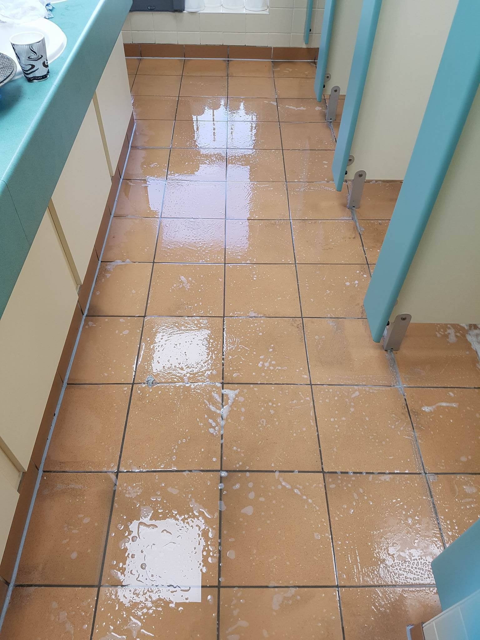 Ladies Toilet Floor at Corporate Offices During Cleaning