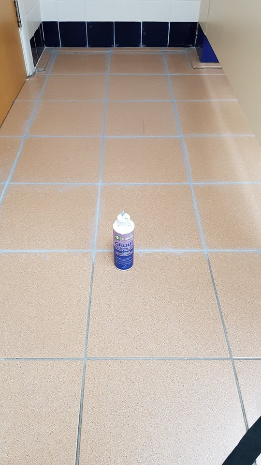 Toilet Floor Grout During Recolouring at Corporate Offices Manchester