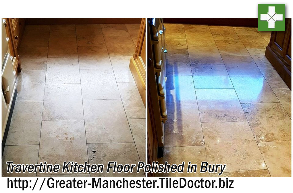 Travertine Kitchen Floor Restored in Bury