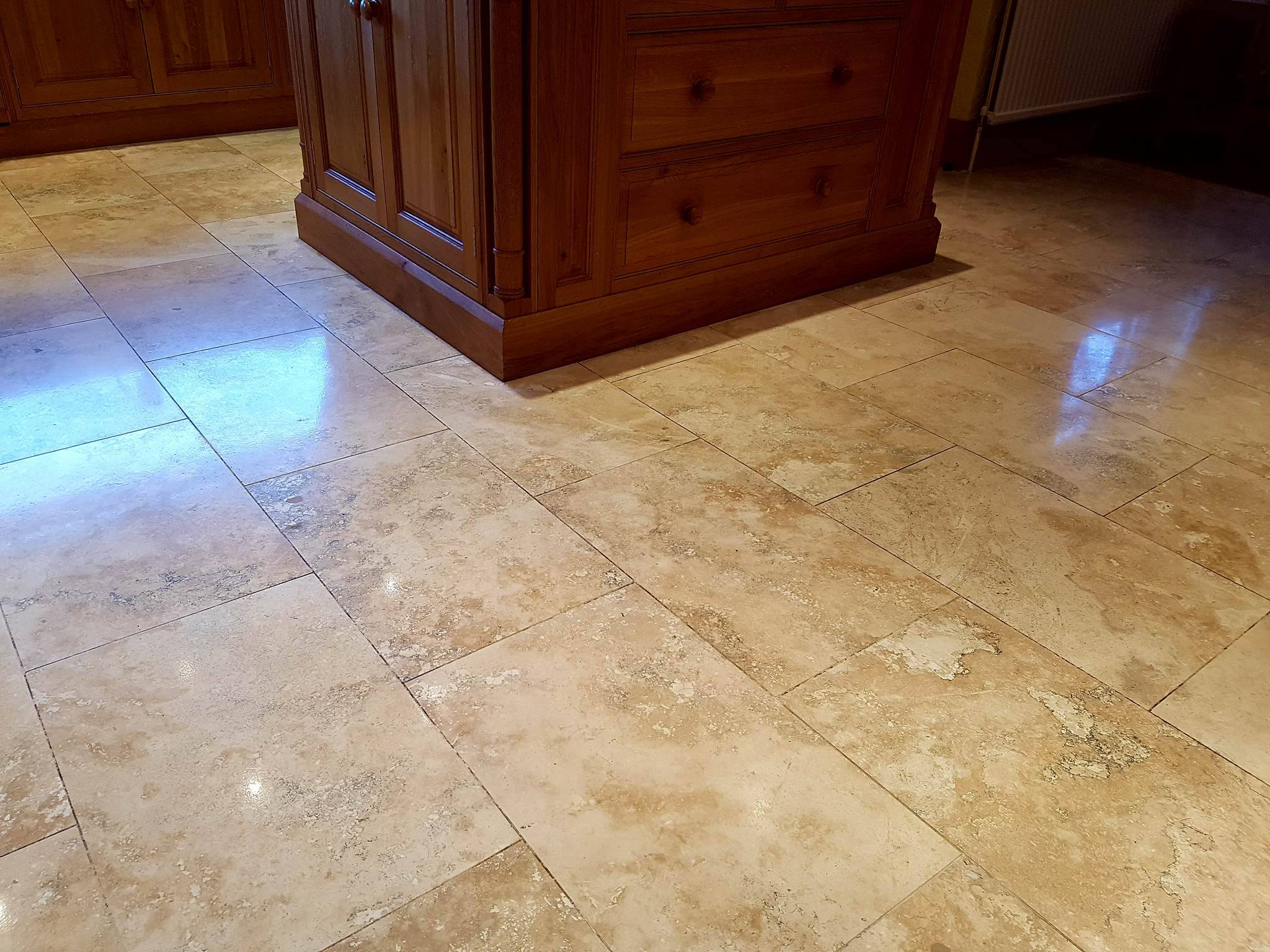 Travertine Tiled Floor After Cleaning Bury