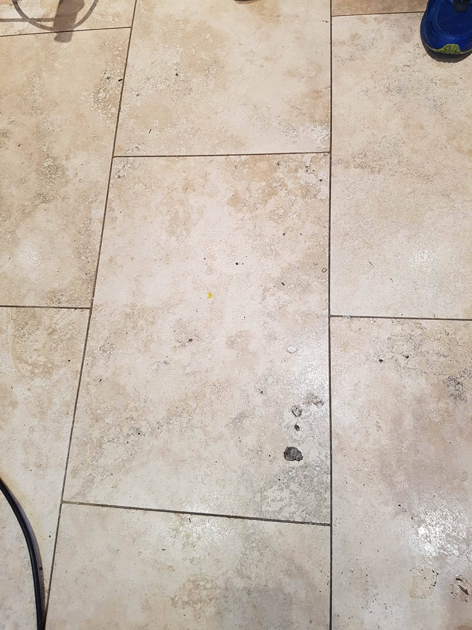 Travertine Tiled Floor Before Cleaning Bury