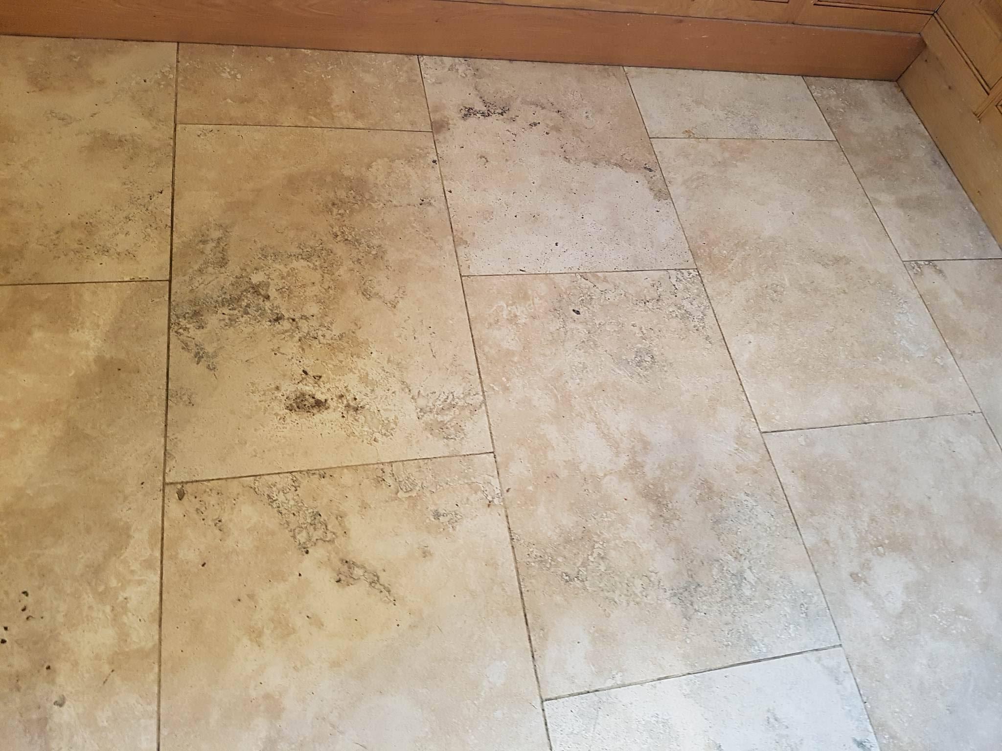 Travertine Tiled Floor Before Cleaning Bury