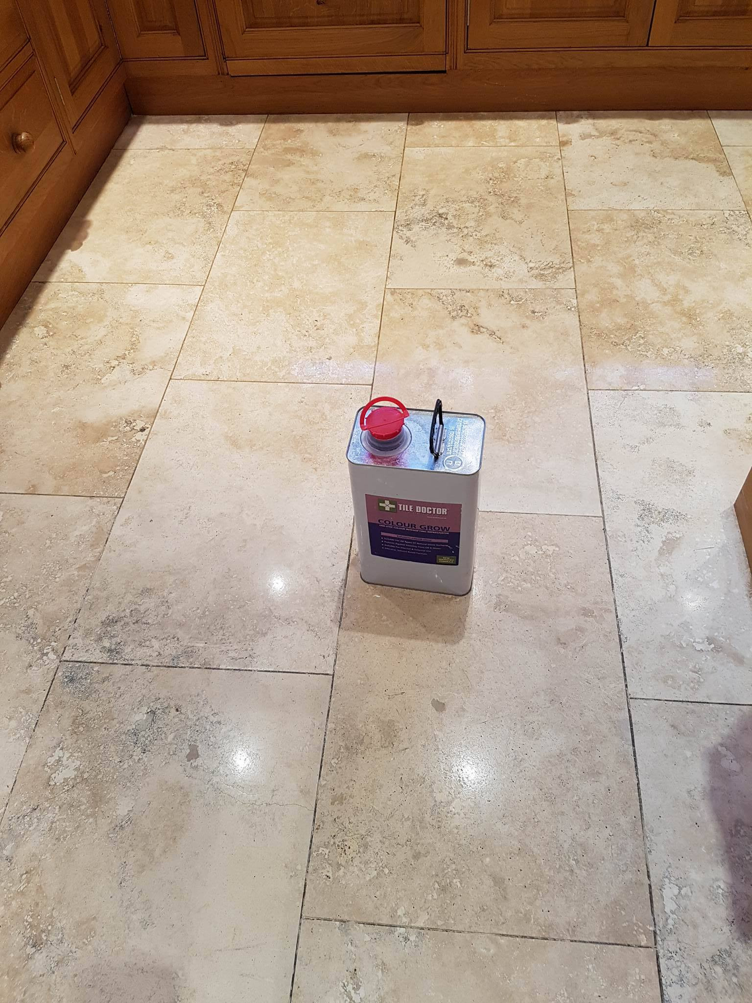 Travertine Tiled Floor During Sealing Bury