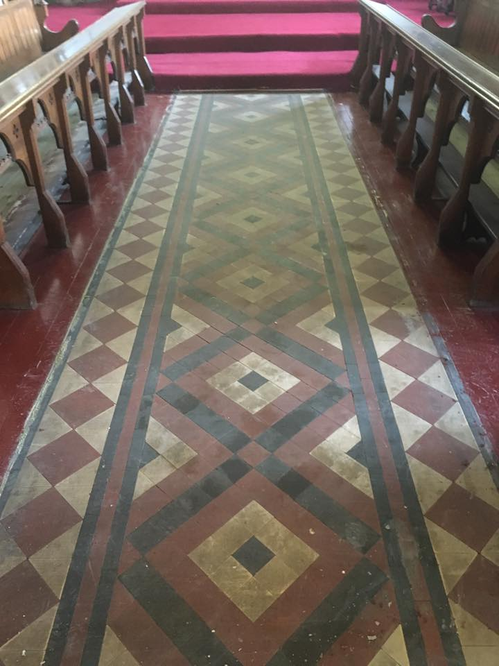Victorian Floor Before Cleaning Rishton Church