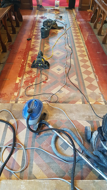 Victorian Floor During Cleaning Rishton Church