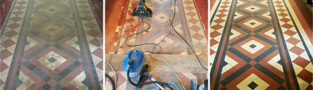 Victorian Tiled Chruch Floor Before and After Renovation in Rishton