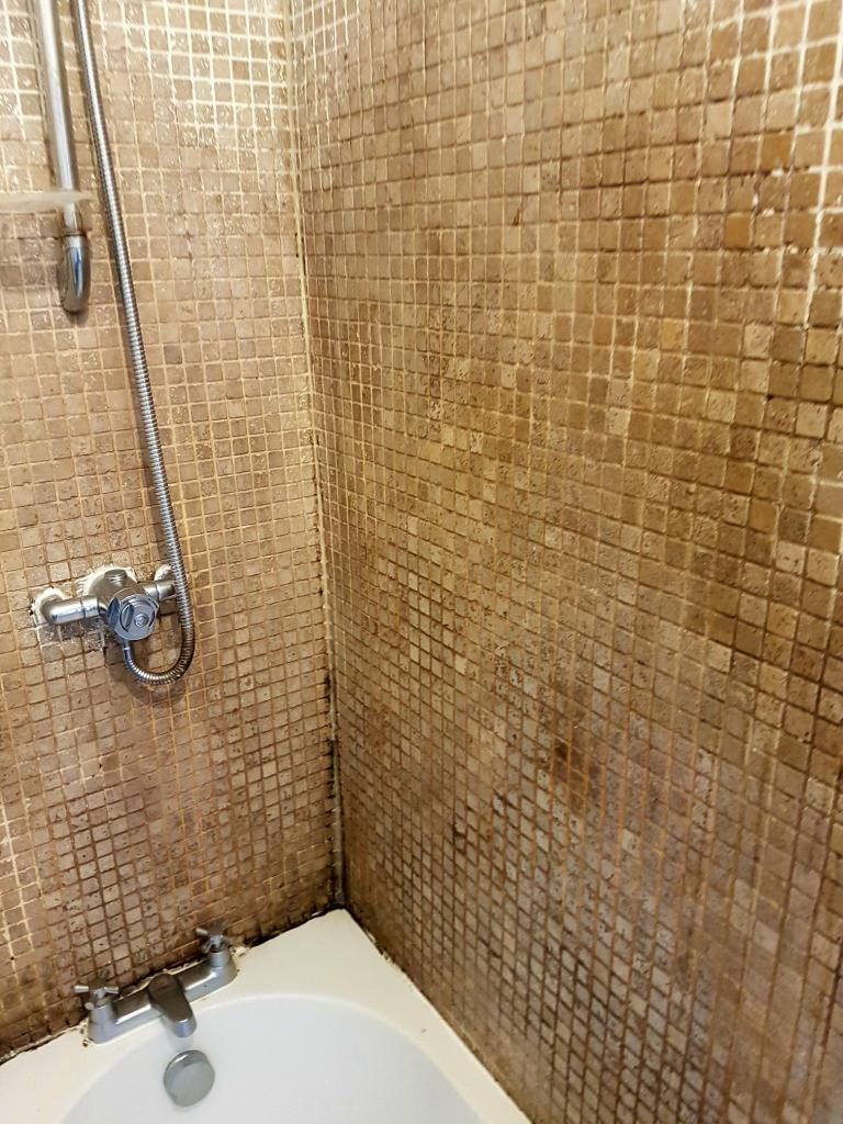 Bath Shower Tile Before Refresh Stockport