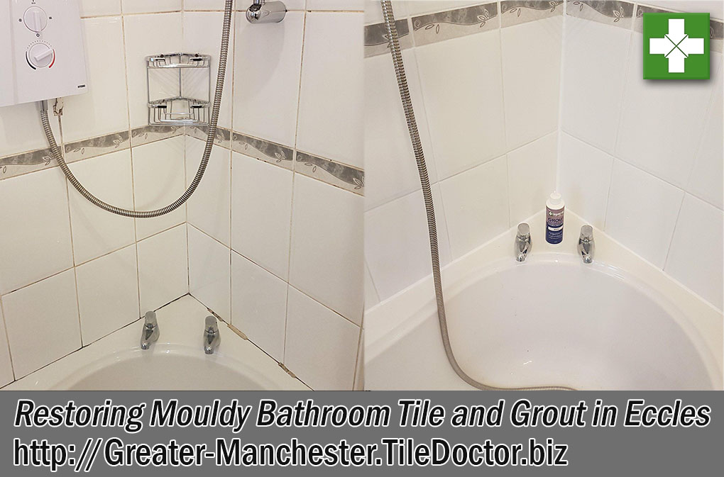 Mouldy Ceramic Tile Grout Before and After Cleaning Eccles