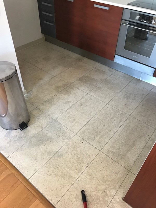 Terrazzo Kitchen Floor Before Cleaning Skyline Apartments Manchester