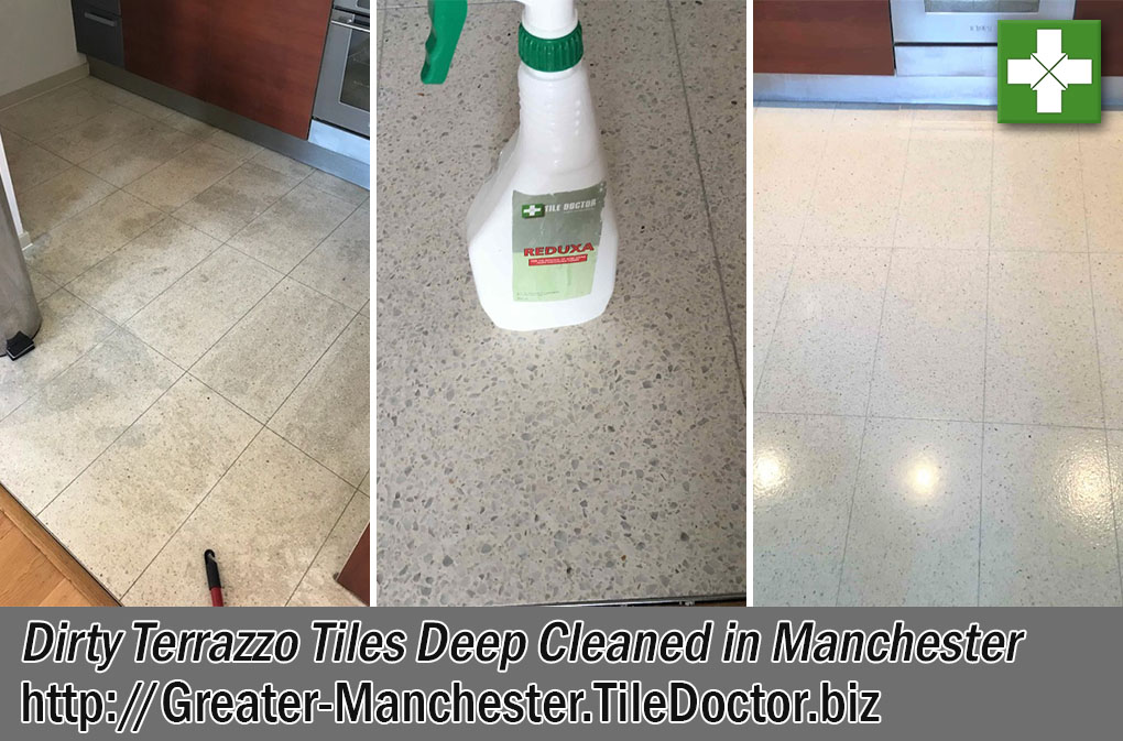 Terrazzo Kitchen Tile Floor Before After Cleaning Manchester
