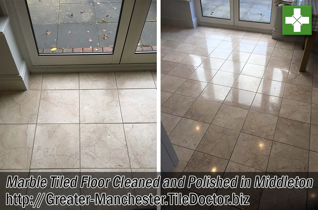 Marble Tiled Floor Before After Polishing Middleton