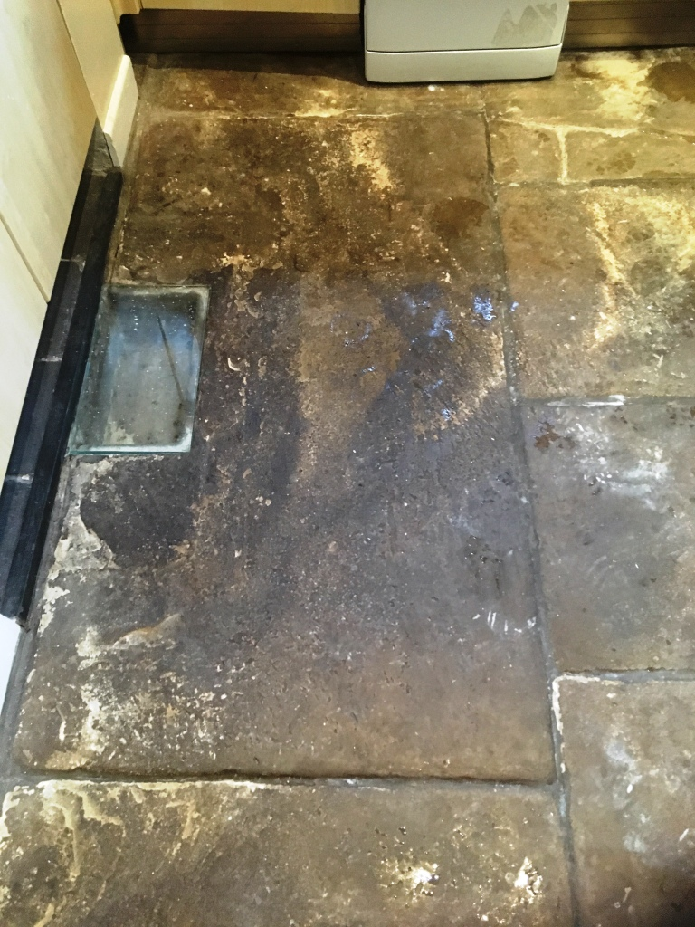 Old Flagstone Floor Before Cleaning Broadbottom