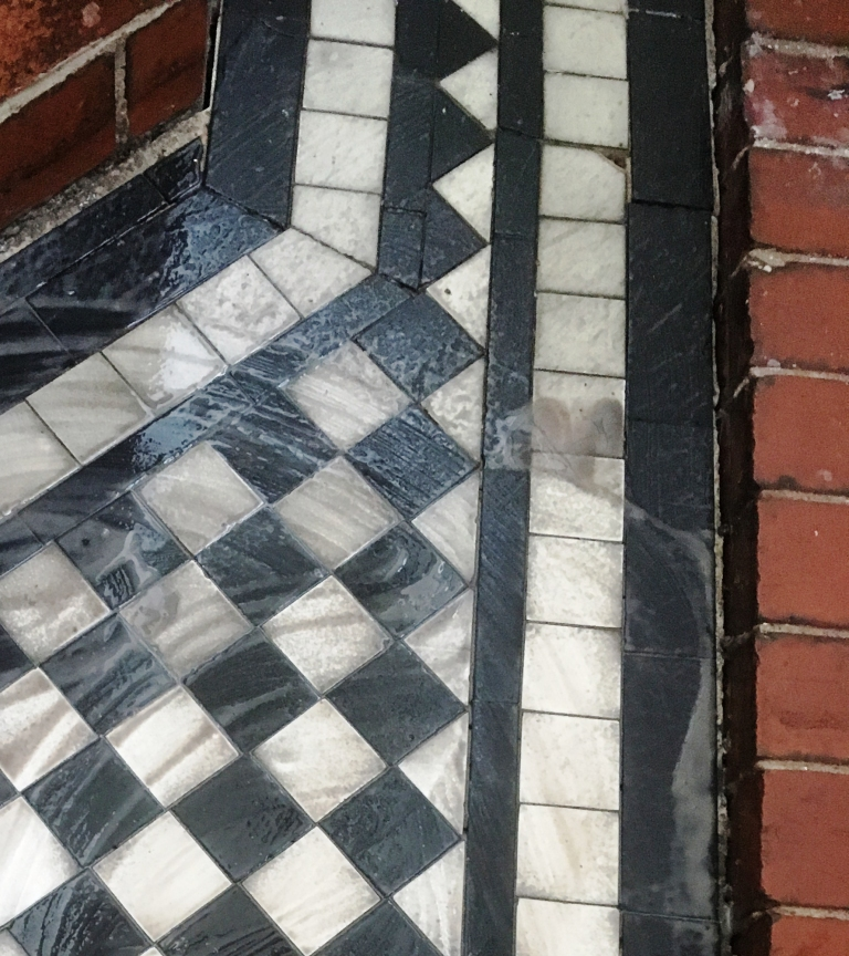 Marble Tiled Victorian Porch During Restoration Oldham