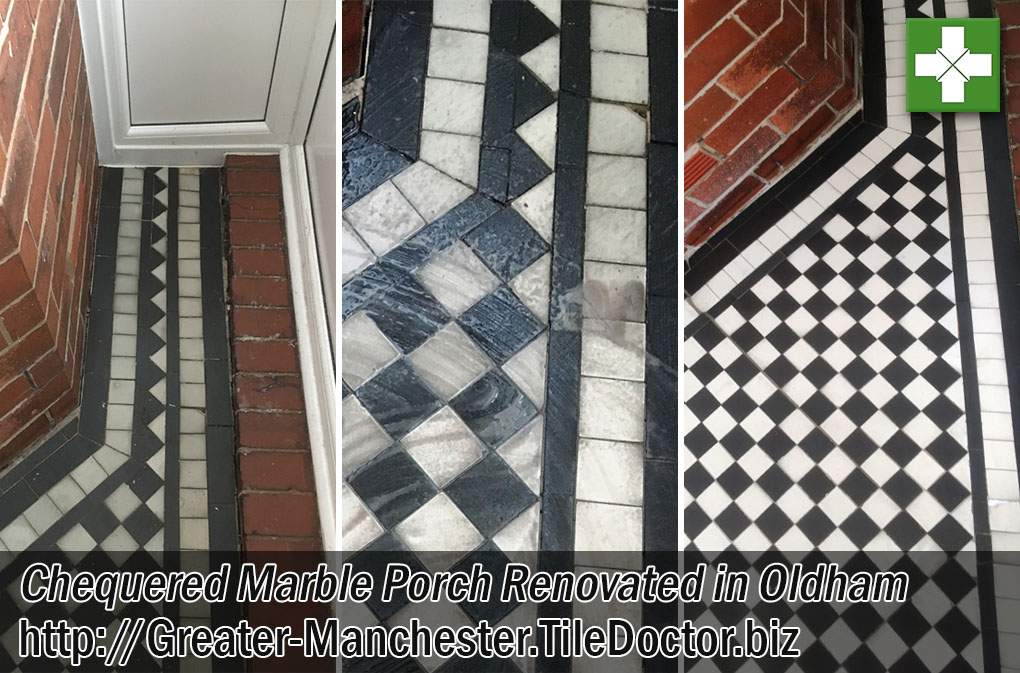 Varnished Marble Tiled Floor Grout Before After Renovation Oldham