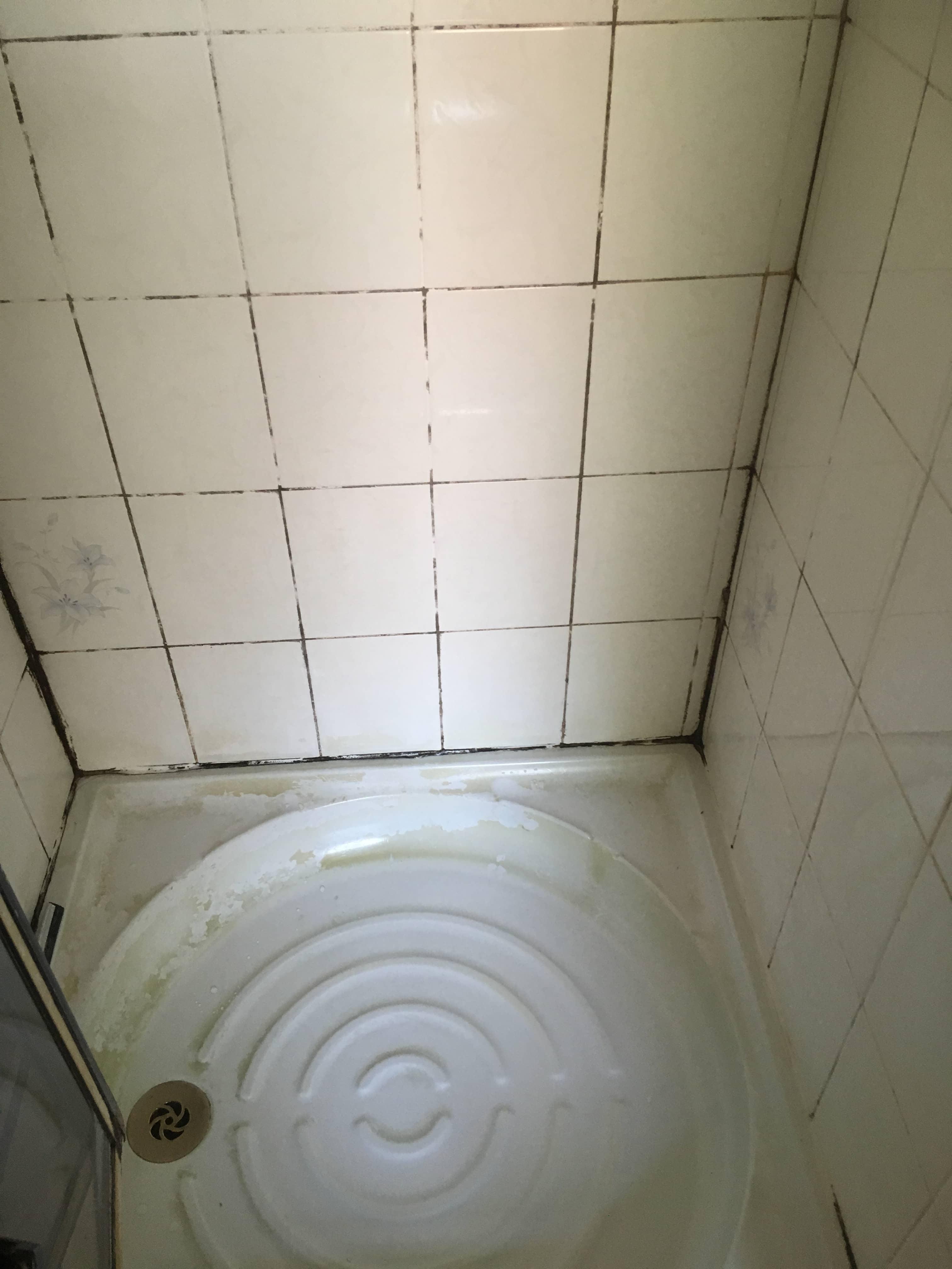 Grubby Shower Cubicle Before Renovation Chorlton Cum Hardy Rental Property