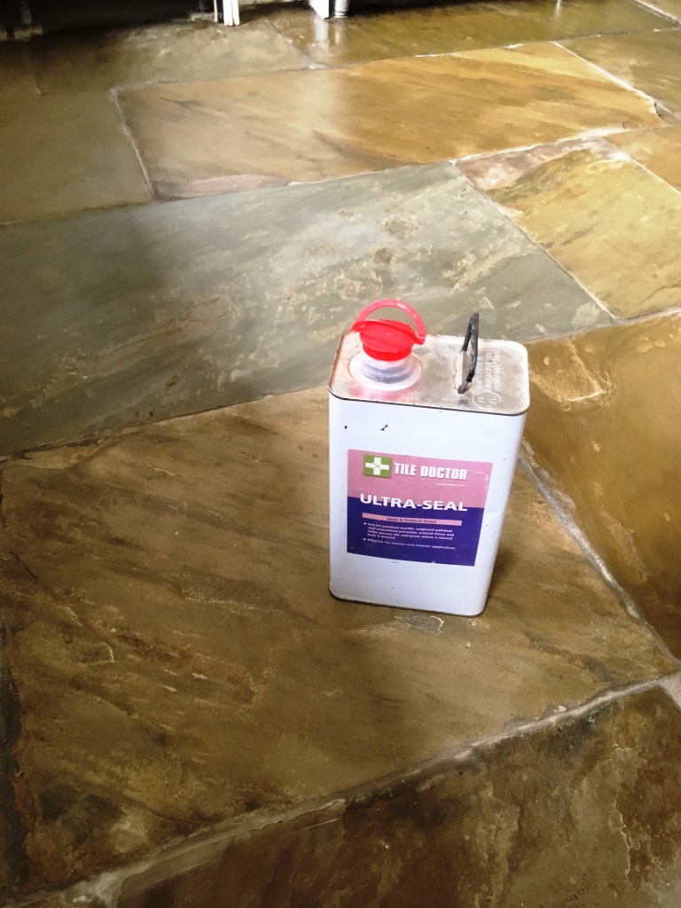 Flagstone Kitchen Floor After Sealing Oldham