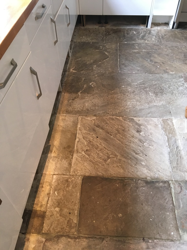 Flagstone Kitchen Floor Before Cleaning Oldham