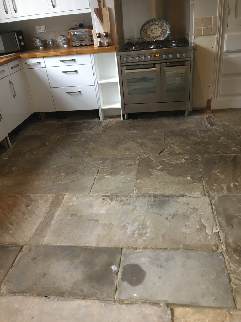 Resurfacing Dirty Flagstone Flooring In