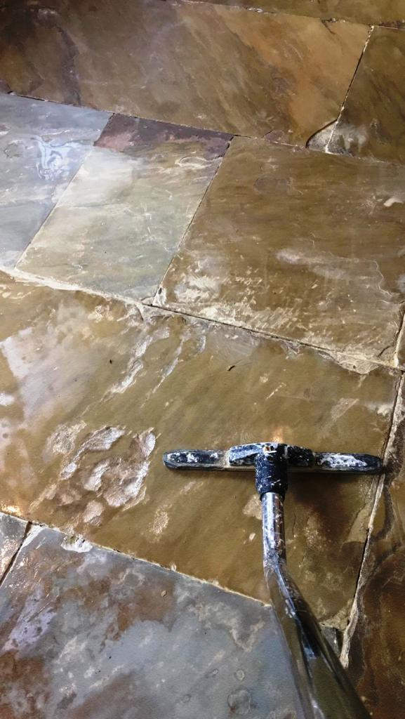 Flagstone Kitchen Floor During Cleaning Oldham