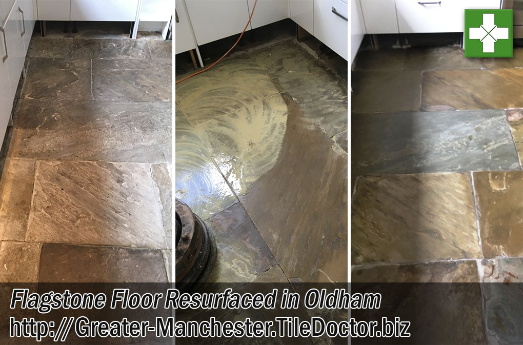 Flagstone Tiled Floor Before After Resurfacing Oldham