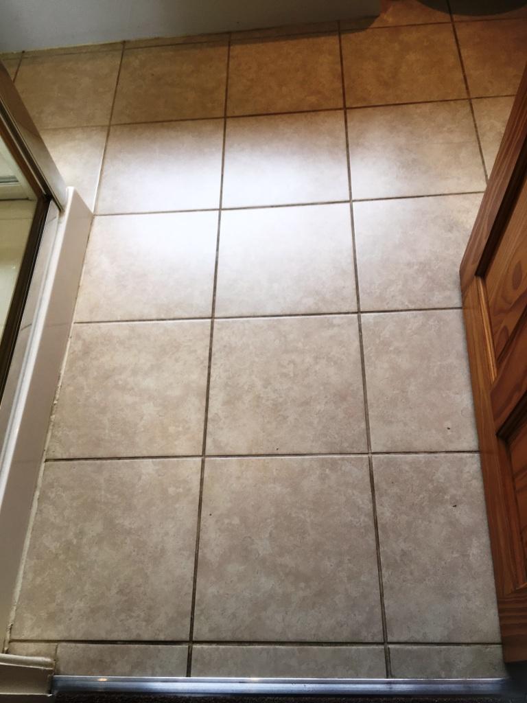 Bathroom Floor Grout Before Restoration in Romiley