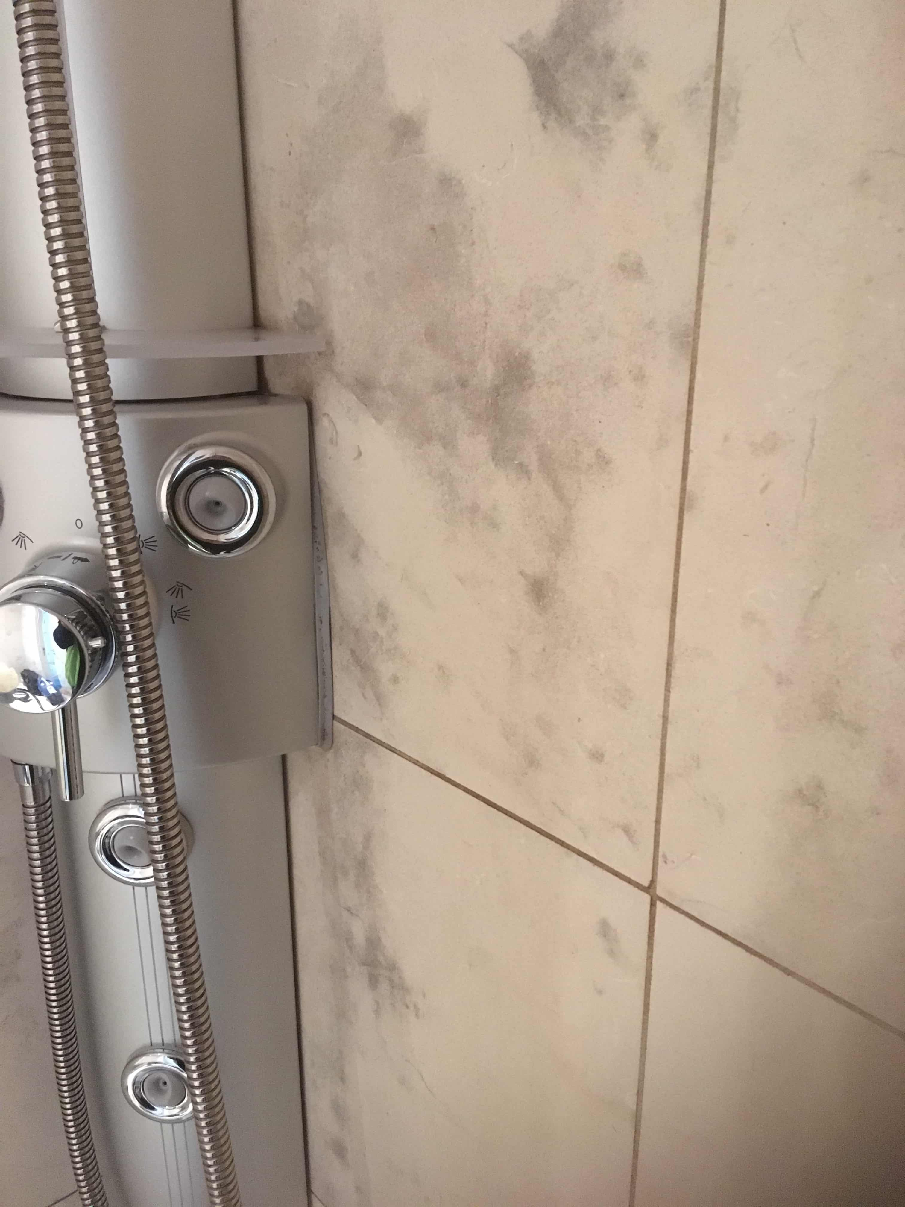 Limestone Tiled Shower Cubicle Before Mould Removal Manchester City Centre
