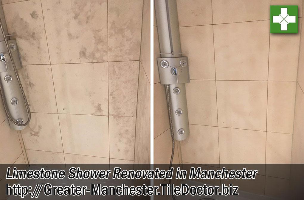 Limestone Tiled Shower Tile Before After Restoration Manchester