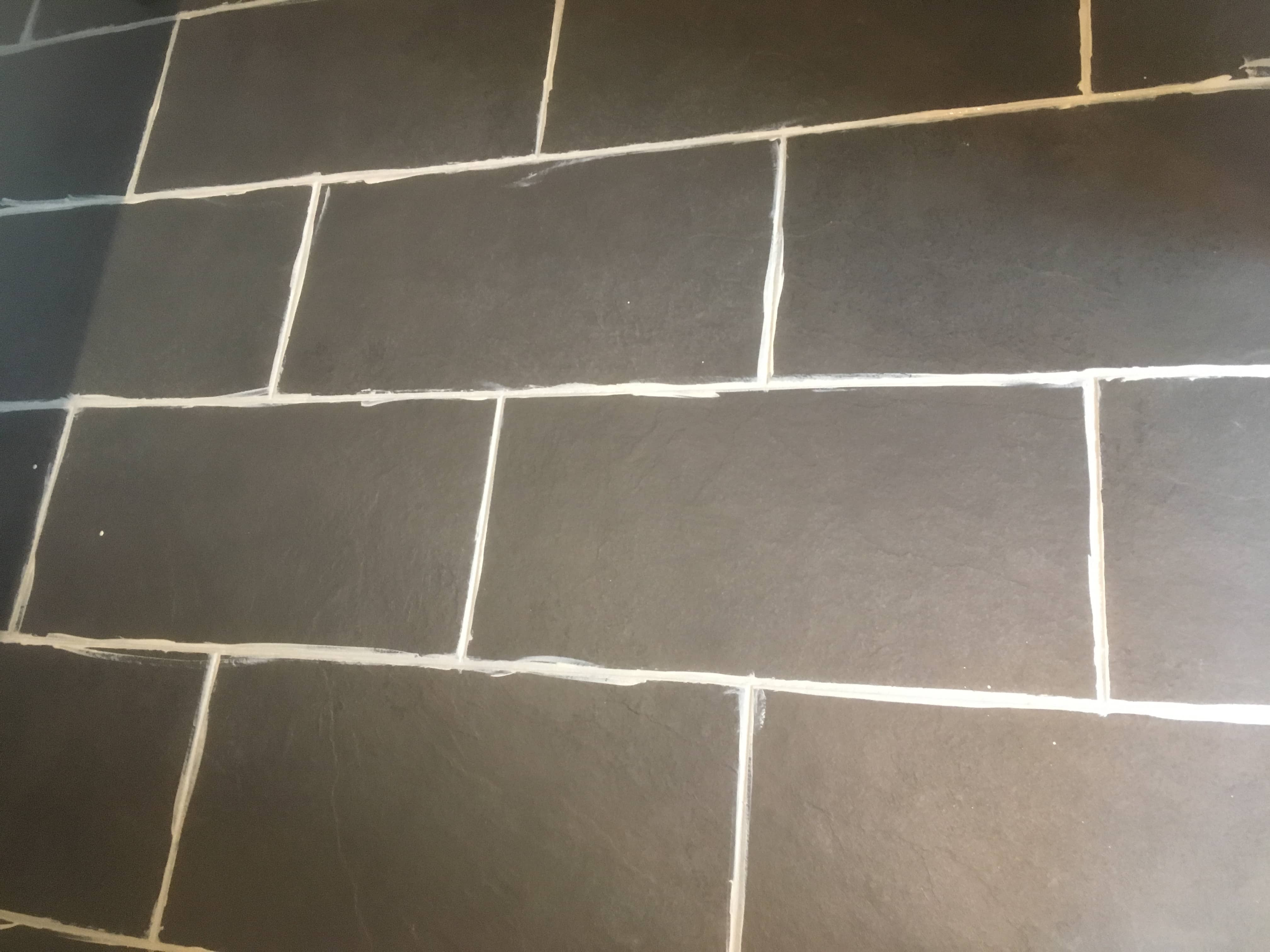 Slate Look Porcelain Tile and Grout During Grout Colouring Bury