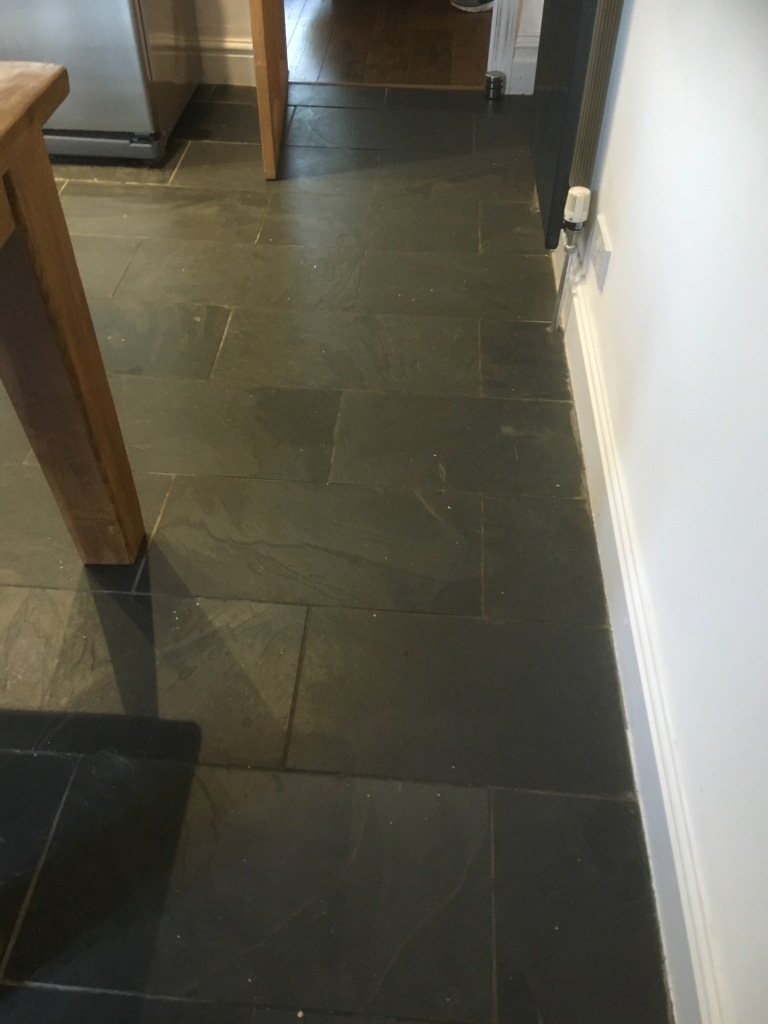 Riven Slate Floor Before Cleaning Oldham