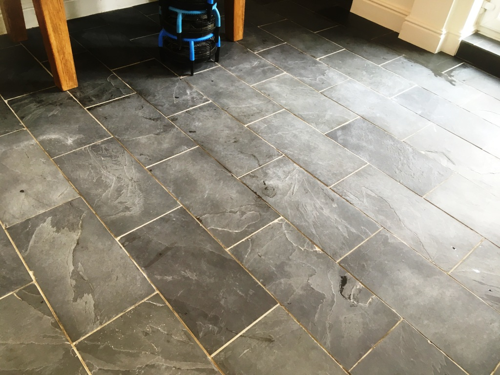 Riven Slate Floor During Cleaning Oldham