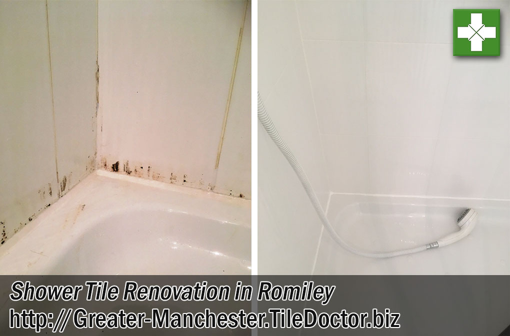 Ceramic Tiled Shower Before After Renovation Romiley