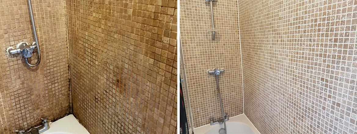 Bath Shower Tile Before After Refresh Stockport