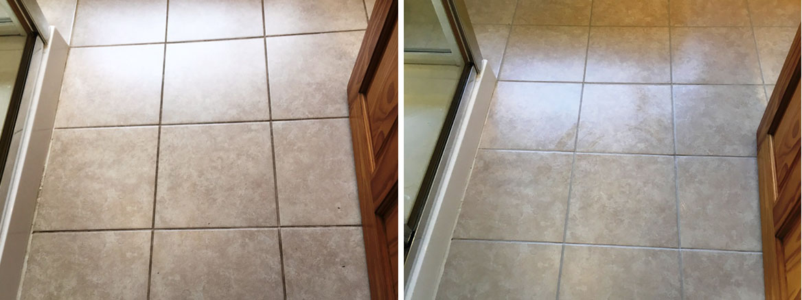 Bathroom Floor Grout Before After Restoration in Romiley