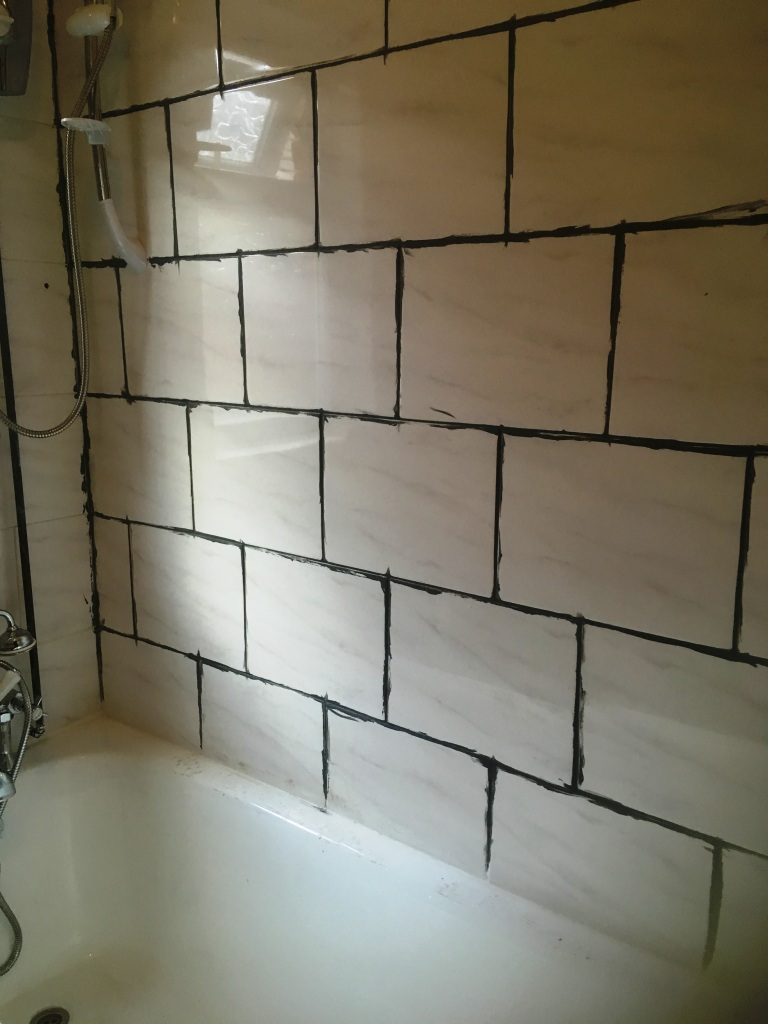 Ceramic Tiled Bathroom During Grout Colouring Levenshulme