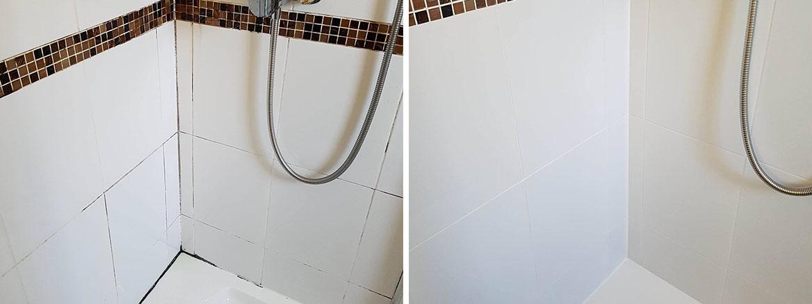 Ceramic Tiled Shower Cubicle Before After Restoration Moston