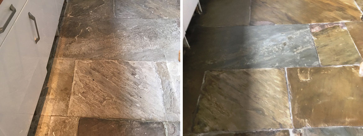 Flagstone Kitchen Floor Before After Cleaning Oldham