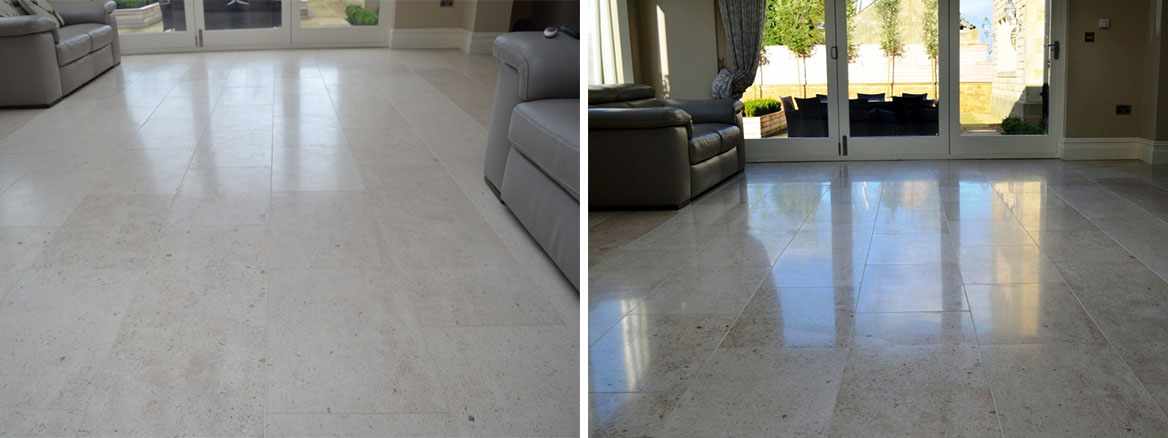 Limestone Tiled Floor Before After Burnishing Peel Green