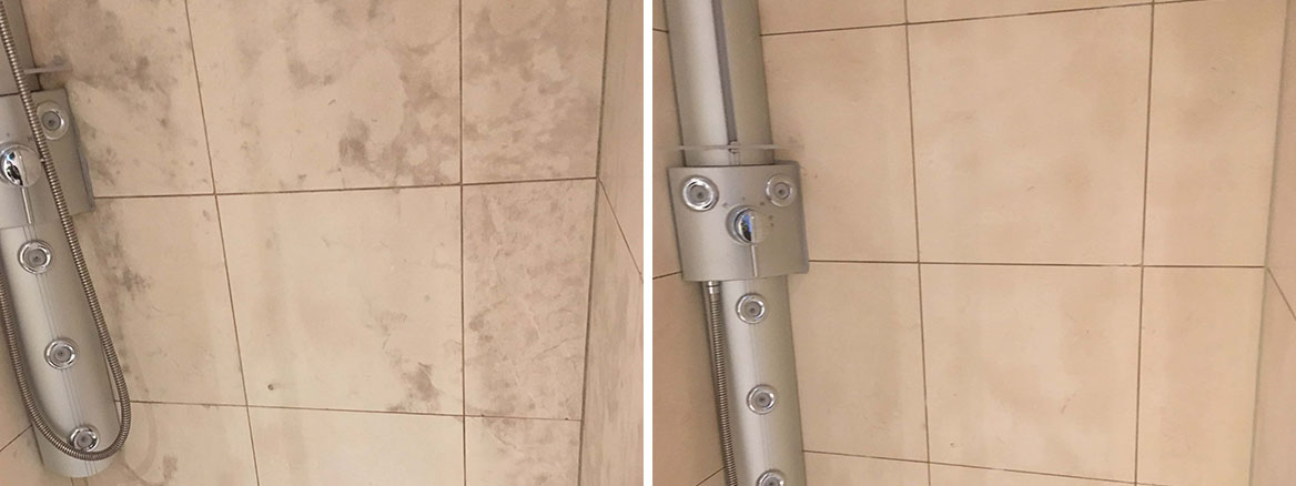 Limestone-Tiled-Shower-Cubicle-Before-After-Mould-Removal-Manchester-City-Centre