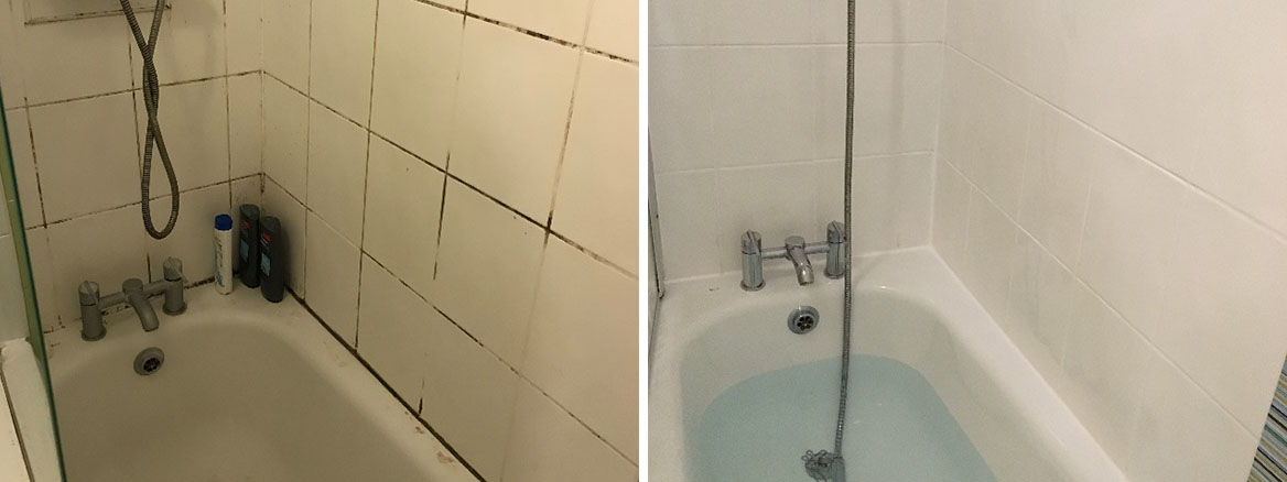 Manchester Rental Apartment Bathroom Before After Grout Colouring