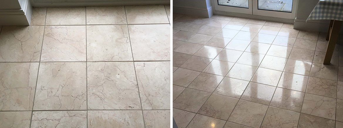 Marble Tiled Floor Before After Polishing Middleton Manchester