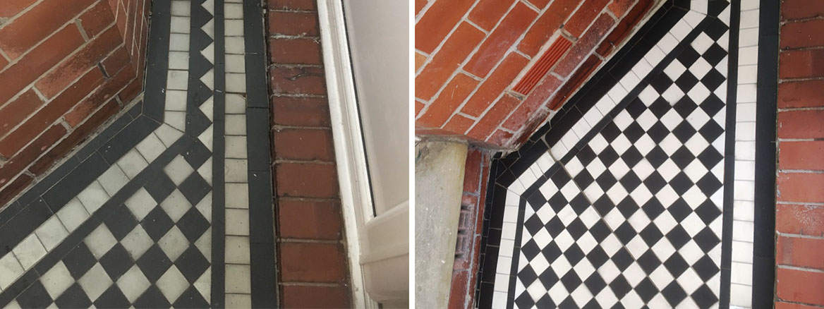 Marble Tiled Victorian Porch Before After Restoration Oldham