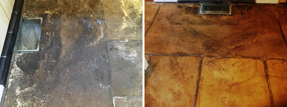 Old Flagstone Floor Before After Cleaning Broadbottom