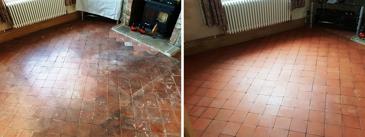 Quarry Tiles in Hale Before After Cleaning