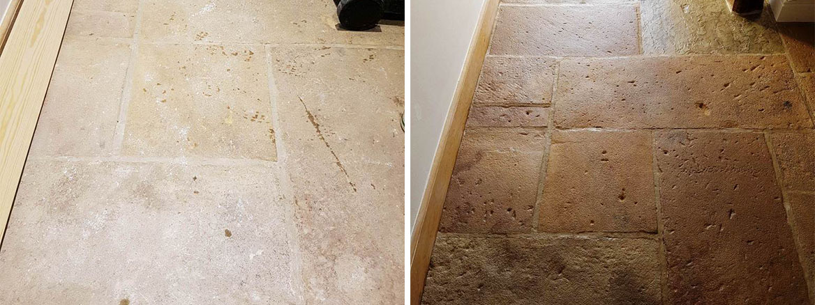 Sandstone Floor Before After Cleaning in Hattersley