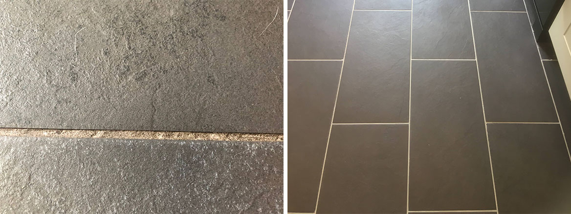 Slate Look Porcelain Tile and Grout Before After Cleaning Bury