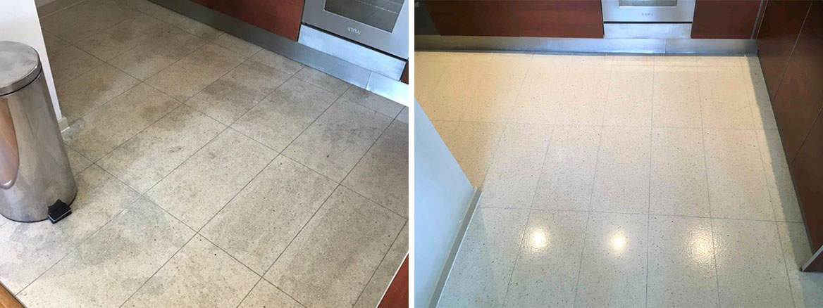 Terrazzo Kitchen Floor Before After Cleaning Skyline Apartments Manchester