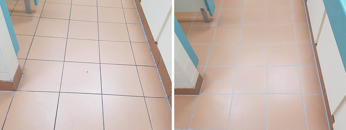 Toilet Floor at Corporate Offices Manchester Before After Grout Colouring
